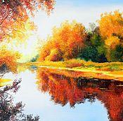 Картины и панно handmade. Livemaster - original item Oil painting landscape Osennyaya author`s work. Handmade.