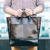 Кожаная коричневая мужская сумка шоппер