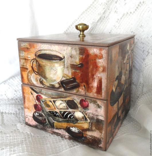 Кухня ручной работы. Ярмарка Мастеров - ручная работа. Купить Чайный комодик Кофе и шоколад. Handmade. Чайная шкатулка