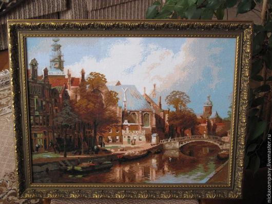 Город ручной работы. Ярмарка Мастеров - ручная работа. Купить Амстердам. Handmade. Коричневый, Вышивка крестом, готовая вышивка, замок