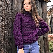 Одежда handmade. Livemaster - original item Jerseys: Women`s knitted sweater with a cross pattern in purple. Handmade.
