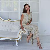 Одежда handmade. Livemaster - original item Linen Dress, Plus Size Dress, Boho Dress, Lace Dress. Handmade.