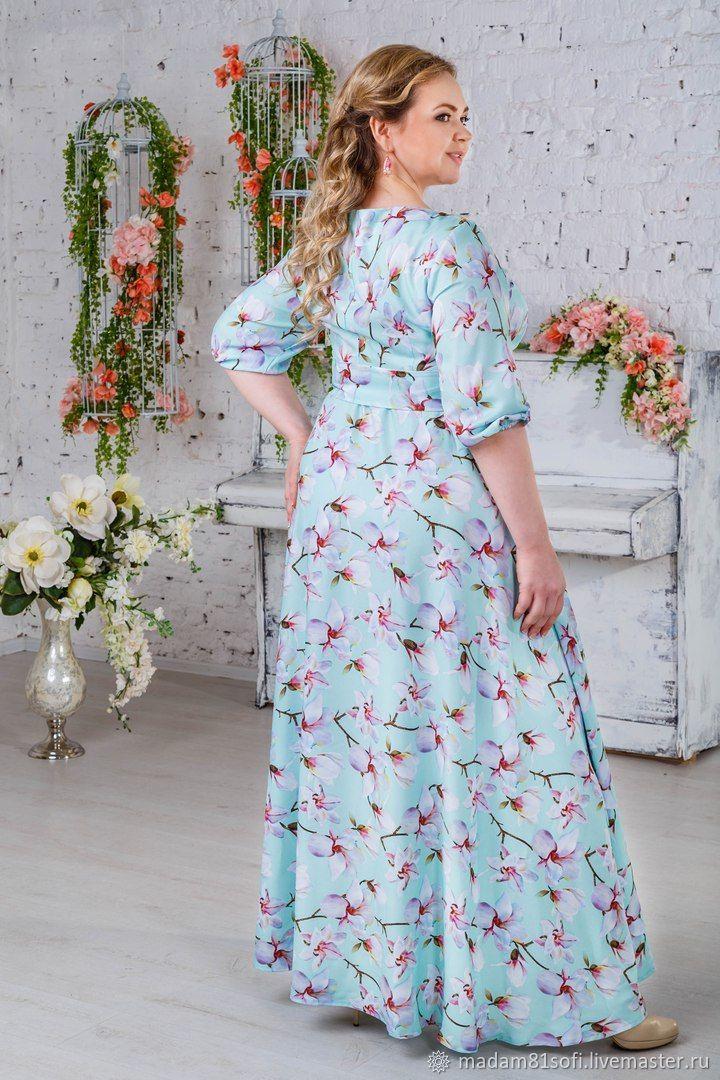 25c0c3123a3 Цветочное платье большого размера. Мадам Софи 52-64 размеры. Большие  размеры ручной работы. Ярмарка Мастеров - ручная работа. Купить ...