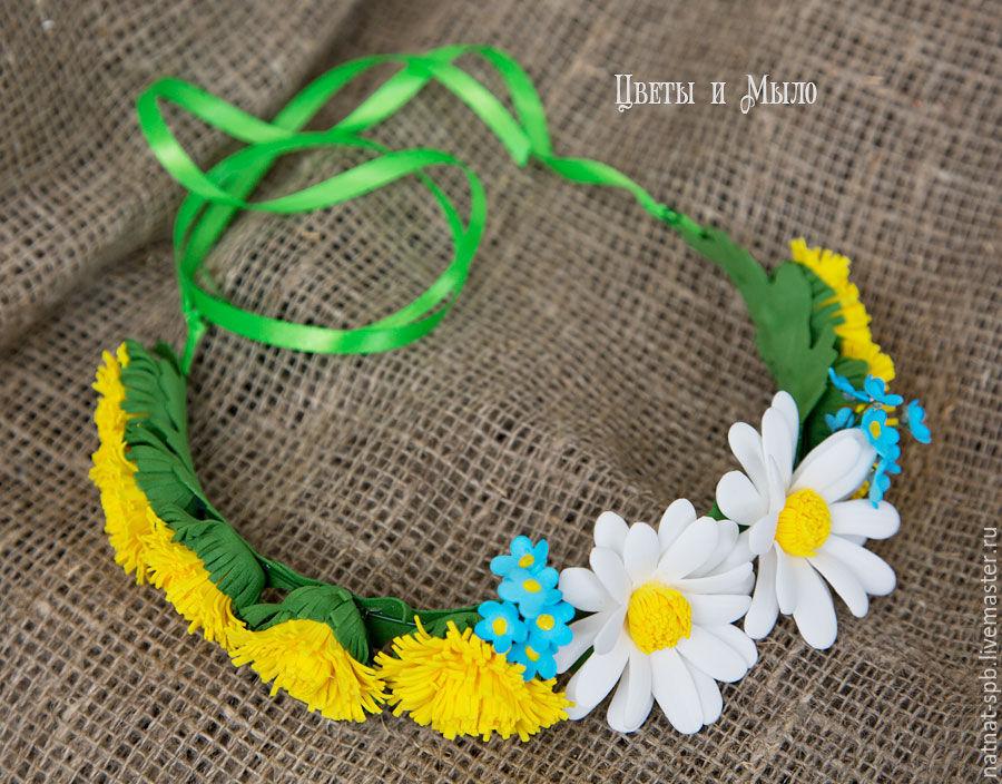 Венок на голову с полевыми цветами