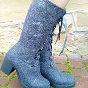 Обувь ручной работы. Ярмарка Мастеров - ручная работа Сапожки зимние высокие на каблуке Изморозь. Handmade.
