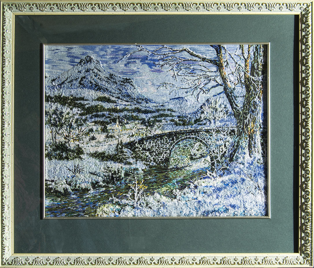 the picture is embroidered with ribbons and satin stitch, Pictures, Moscow,  Фото №1