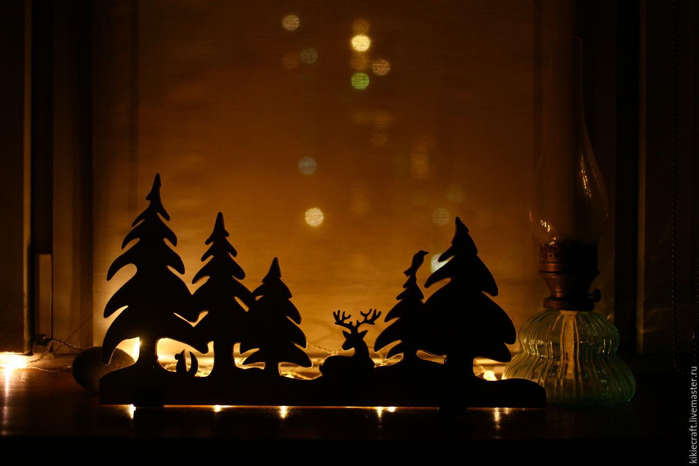 Скандинавский декор, зимний лес, силуэтный декор, Витражи, Москва, Фото №1