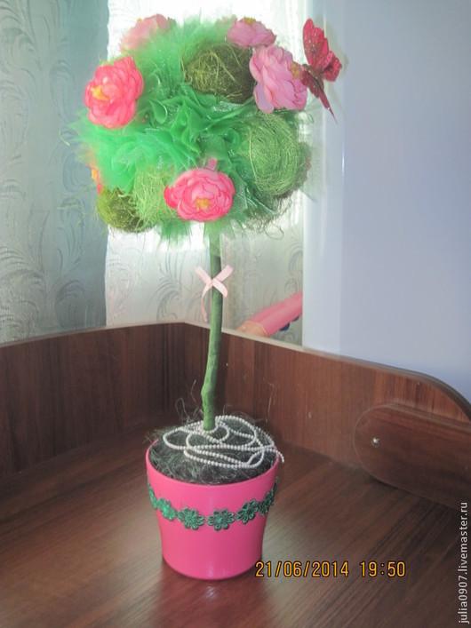 Персональные подарки ручной работы. Ярмарка Мастеров - ручная работа. Купить Топиарий. Handmade. Розовый, топиарий из цветов, кашпо, тесьма