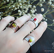 Украшения handmade. Livemaster - original item Boho Copper ring, black white rings thin and wide pattern. Handmade.