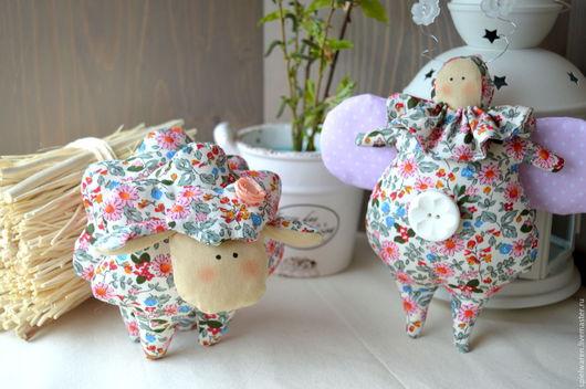 Куклы Тильды ручной работы. Ярмарка Мастеров - ручная работа. Купить Весенние жук и овечка в стиле Тильда. Handmade. Комбинированный