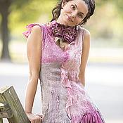 Одежда ручной работы. Ярмарка Мастеров - ручная работа туника ручной работы цвета Пиона из шелка и шерсти. Handmade.
