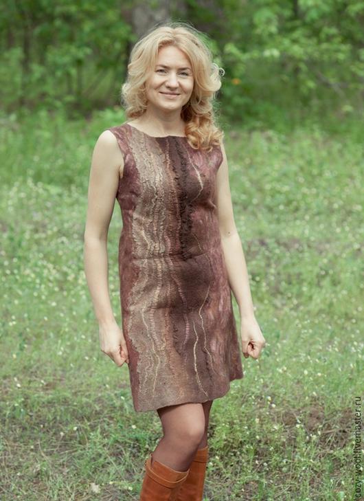 Платья ручной работы. Ярмарка Мастеров - ручная работа. Купить Платье валяное Шоколадный десерт. Handmade. Коричневый, авторское платье