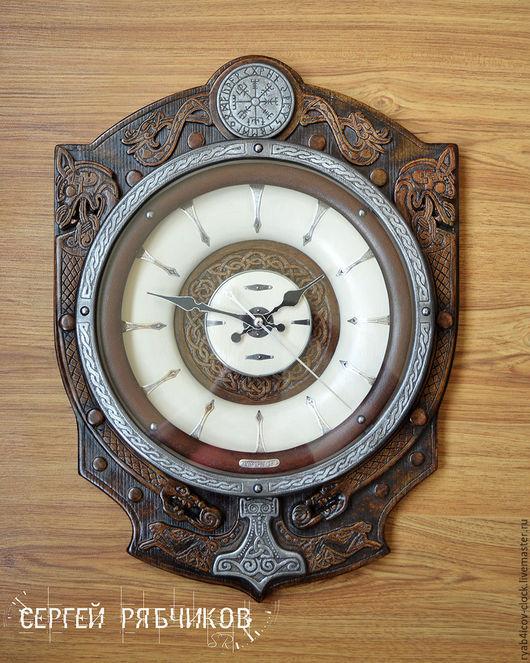 """Часы для дома ручной работы. Ярмарка Мастеров - ручная работа. Купить Часы настенные декоративные """"Viking time"""". Handmade. Коричневый"""