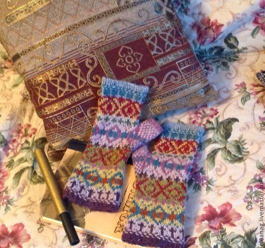 Варежки, митенки, перчатки ручной работы. Ярмарка Мастеров - ручная работа. Купить Митенки Разнотравье. Handmade. Орнамент, митенки для девушки