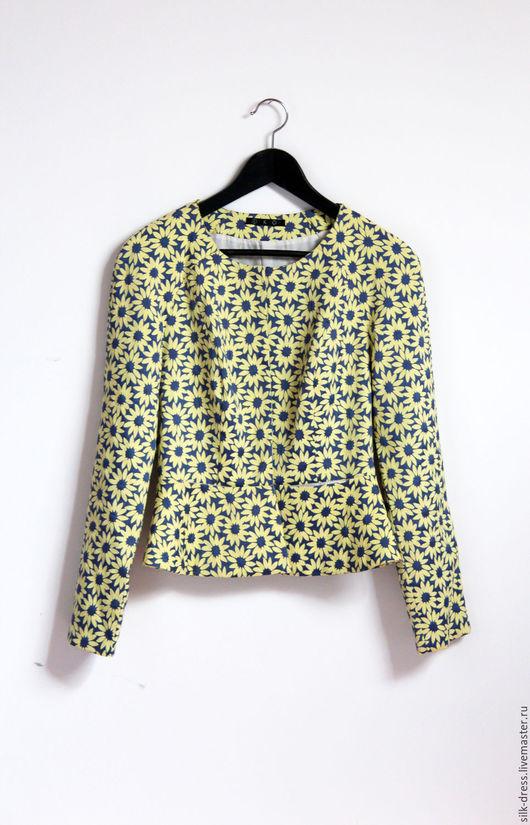 Пиджаки, жакеты ручной работы. Ярмарка Мастеров - ручная работа. Купить Жакет женский укороченный с баской желтого цвета. Handmade.