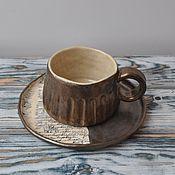 Посуда ручной работы. Ярмарка Мастеров - ручная работа Чашка с тарелкой про путешествия.. Handmade.
