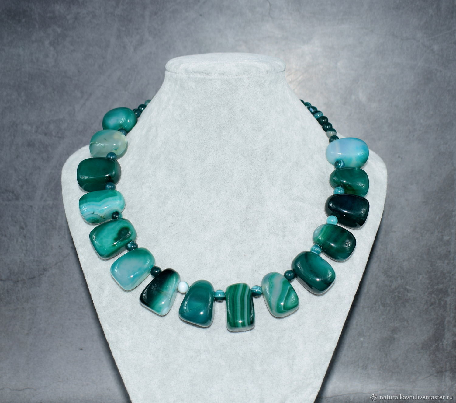 Necklace natural agate green. The author's work, Necklace, Moscow,  Фото №1
