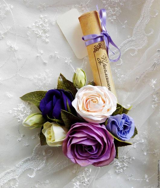 Свадебные украшения ручной работы. Ярмарка Мастеров - ручная работа. Купить зажим для волос с розами и эустомой. Handmade. Комбинированный, сереневый