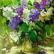Картины и панно handmade. Livemaster - original item Bouquet of lilac in a vase classic sketchy impasto oil painting. Handmade.