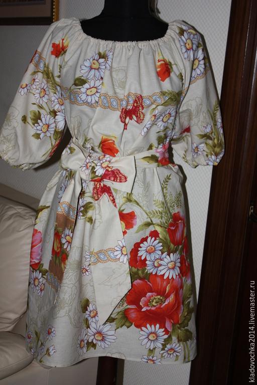 """Платья ручной работы. Ярмарка Мастеров - ручная работа. Купить Платье """"Маленькое платье с маками"""". Handmade. Бежевый, платье для беременных"""