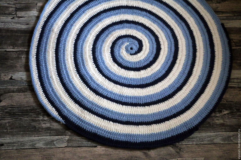 Синий полосатый вязаный детский коврик Морской прибой, Ковры, Москва,  Фото №1