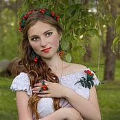 Украшения handmade. Livemaster - original item Jewelry set leather Rowan waltz of the Flowers from the skin. Handmade.