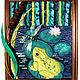 Пейзаж ручной работы. Ярмарка Мастеров - ручная работа. Купить Картина из ткани Пруд. Handmade. Аппликация, кувшинка, картина из ткани