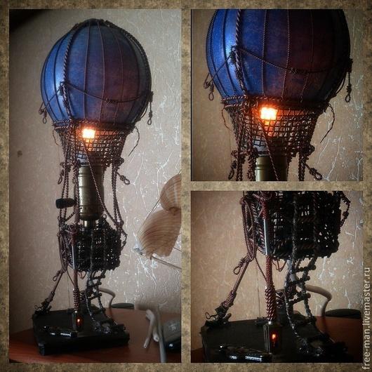 Освещение ручной работы. Ярмарка Мастеров - ручная работа. Купить стимпанк.лампа.ночник.свет.медь.металл.стекло,воздушный шар,стимпанк. Handmade.