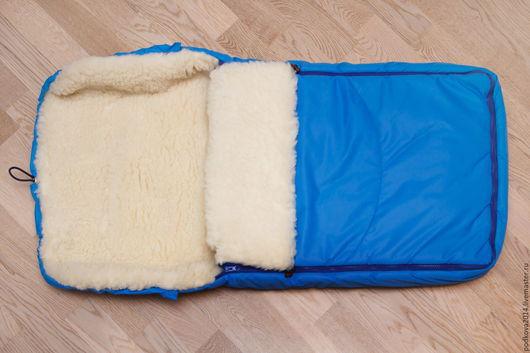 Для новорожденных, ручной работы. Ярмарка Мастеров - ручная работа. Купить Детский меховой конверт из овечьей шерсти. Handmade. Голубой