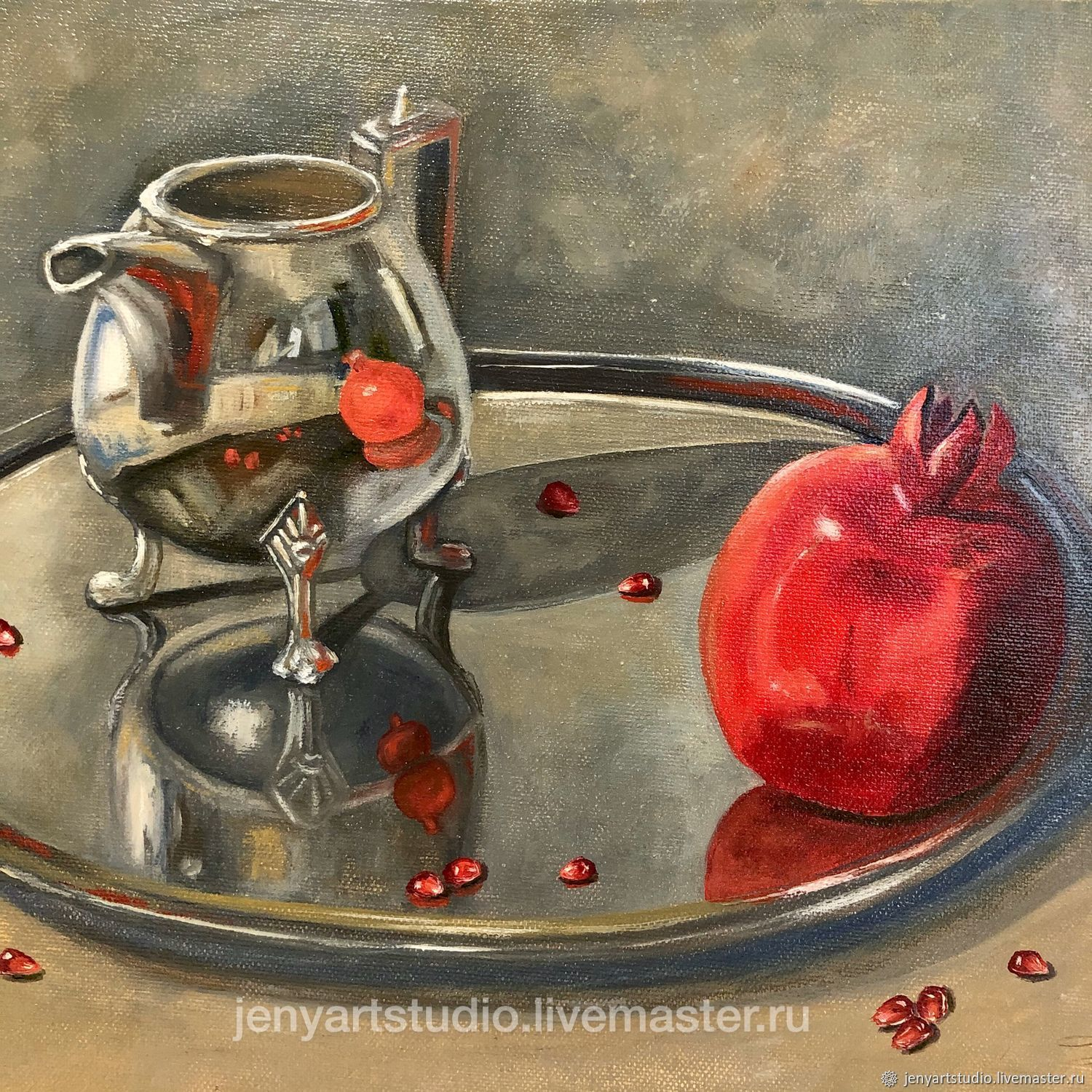 Oil painting still life with pomegranate 'in reflection' 30h40 cm, Pictures, Kolomna,  Фото №1