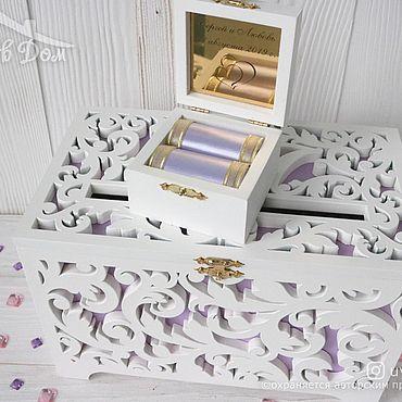 Свадебный салон ручной работы. Ярмарка Мастеров - ручная работа Деревянная свадебная казна и шкатулка для колец в сиреневом цвете. Handmade.