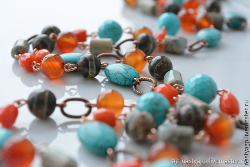 Long necklace with pendant Persia natural stones, Necklace, Moscow,  Фото №1
