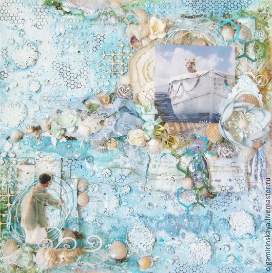 """Фотоальбомы ручной работы. Ярмарка Мастеров - ручная работа. Купить Скрап-страничка """"Морская"""". Handmade. Голубой, интерьерное панно"""