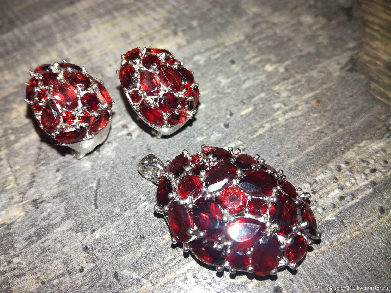 Garnet jewelry set silver, white gold, Jewelry Sets, Voronezh,  Фото №1