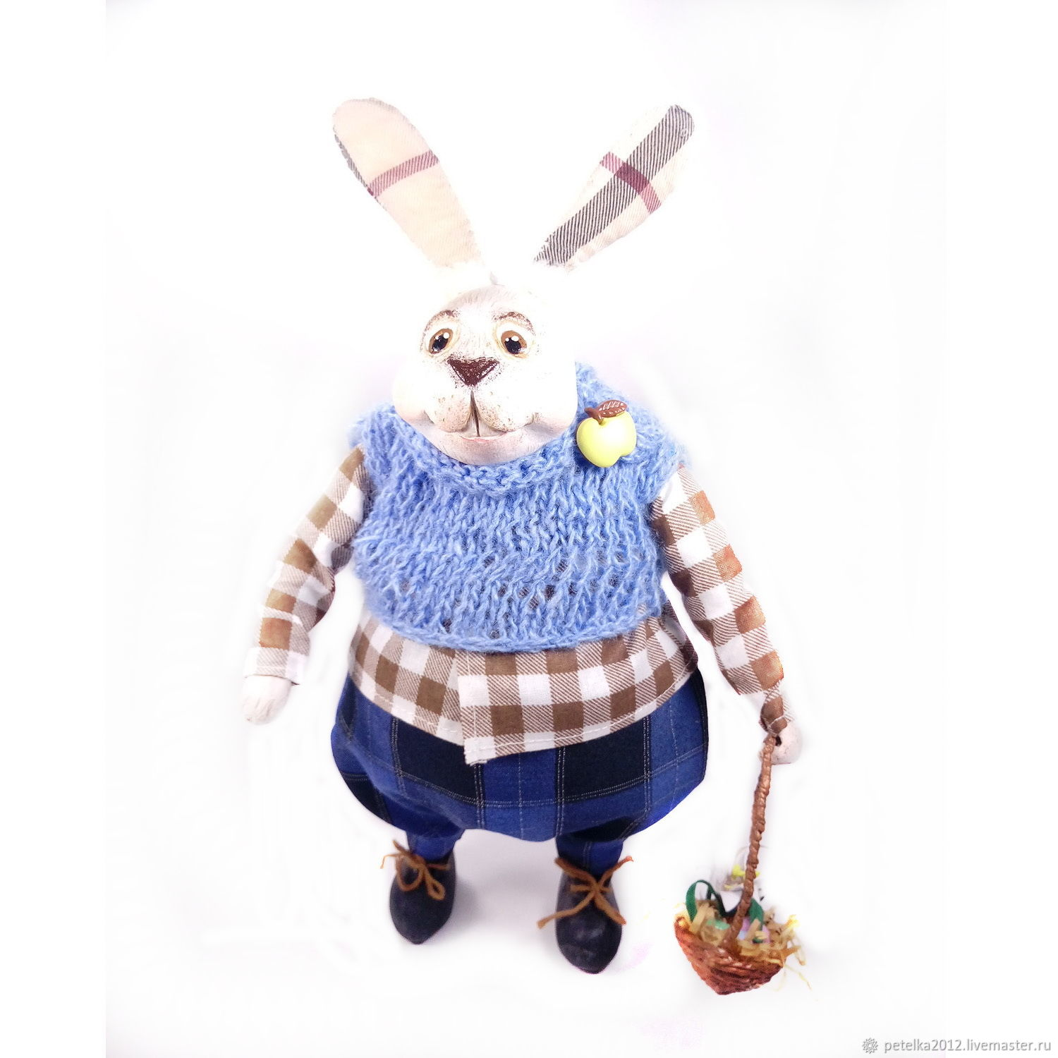 Easter Bunny as a gift Author's doll Hare with a basket, Dolls, Zelenogorsk,  Фото №1
