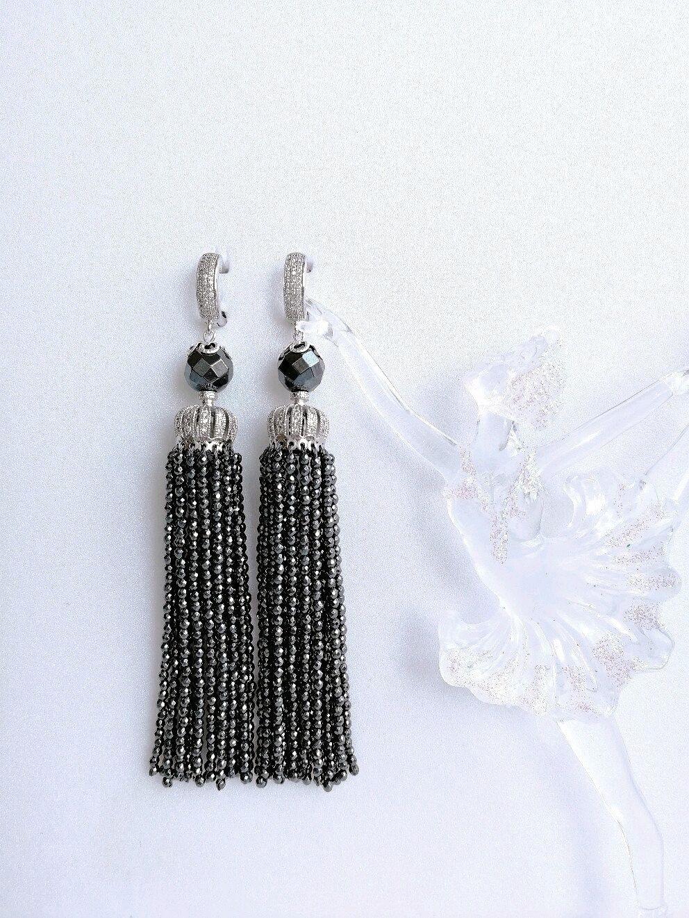 Natural faceted hematite tassel earrings, Tassel earrings, Tolyatti,  Фото №1