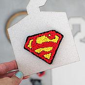Украшения handmade. Livemaster - original item Embroidered brooch Superman. Handmade.