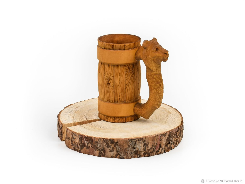 Mug of wood with carved handle 'lion'. Beer mug 0.5, Mugs and cups, Tomsk,  Фото №1