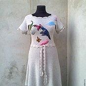 Одежда ручной работы. Ярмарка Мастеров - ручная работа платье вязаное  лен. Handmade.