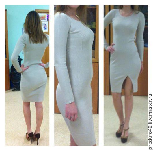 Стильное платье из вискозного трикотажа модного цвета нюд