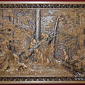 """Картины ручной работы. Ярмарка Мастеров - ручная работа Резное панно """"Утро в сосновом лесу"""". Handmade."""