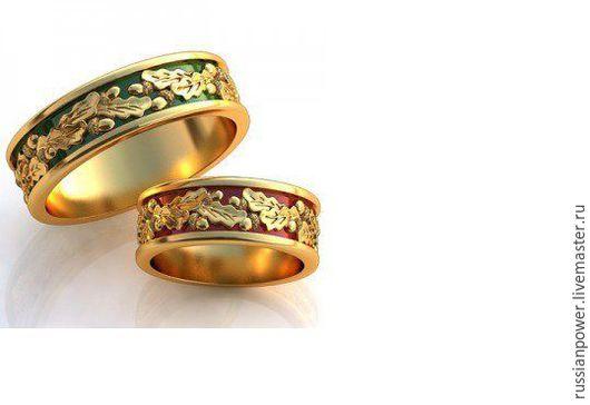 Кольца ручной работы. Ярмарка Мастеров - ручная работа. Купить Обручальные кольца Дубовые листья. Handmade. Комбинированный, славянский оберег