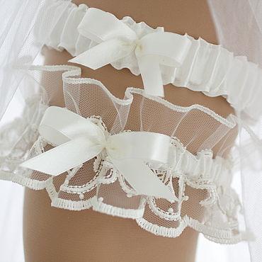 """Свадебный салон ручной работы. Ярмарка Мастеров - ручная работа Комплект свадебных подвязок """"Лилит"""". Handmade."""