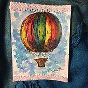 """Открытки ручной работы. Ярмарка Мастеров - ручная работа Авторская открытка ручной работы """"Воздушный шар"""".. Handmade."""