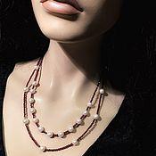 Украшения handmade. Livemaster - original item Garnet necklace with pearl. Handmade.