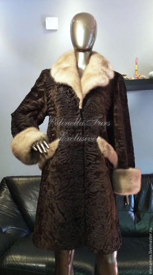 Верхняя одежда ручной работы. Ярмарка Мастеров - ручная работа. Купить Пальто из каракуля Swakara. Handmade. Пальто, мех норки