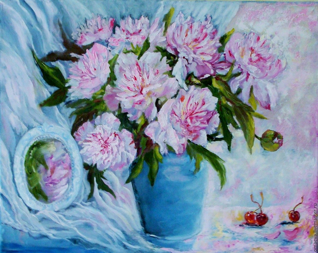 Oil paintingpeonies pink and white marshmallowsa bouquet of flower paintings handmade livemaster handmade buy oil paintingpeonies pink and white izmirmasajfo