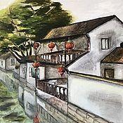 Картины и панно handmade. Livemaster - original item Oil painting: Chinese Venice, Zhouzhuang. M/ h, China. Handmade.