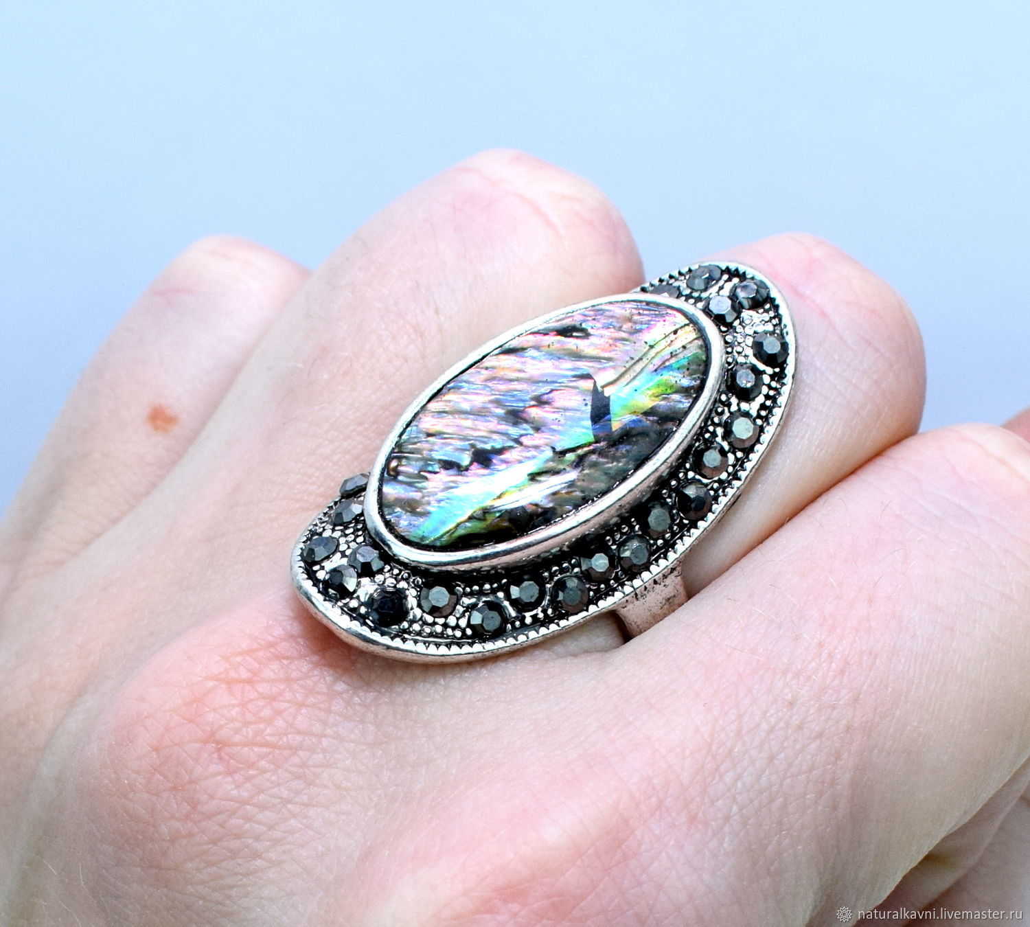 Ring made of natural mother of pearl paua / Abalon / abalone, Rings, Moscow,  Фото №1