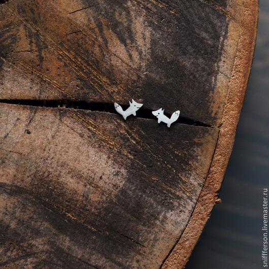 Серьги ручной работы. Ярмарка Мастеров - ручная работа. Купить серебряные пуссеты лисята. Handmade. Серебряный, пуссеты, рыжий, природа